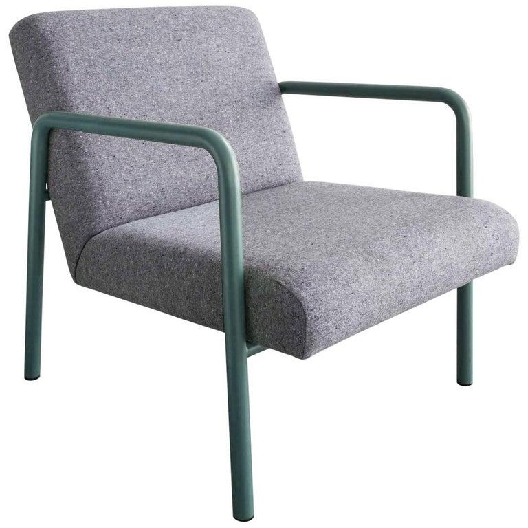 Berm Lounge Chair, Green Powder Coated Steel Tube Frame, Grey Wool Upholstery