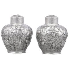 Meiji-Period Japanese Silver Tea Canisters