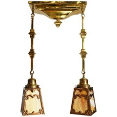 Brass Two Arm Pan Fixture with Slag Glass