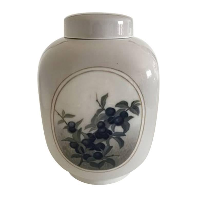 Royal Copenhagen Square Art Nouveau Unique Vase with Lid For Sale