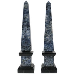 Pair Modern Blue and White Marble Obelisks
