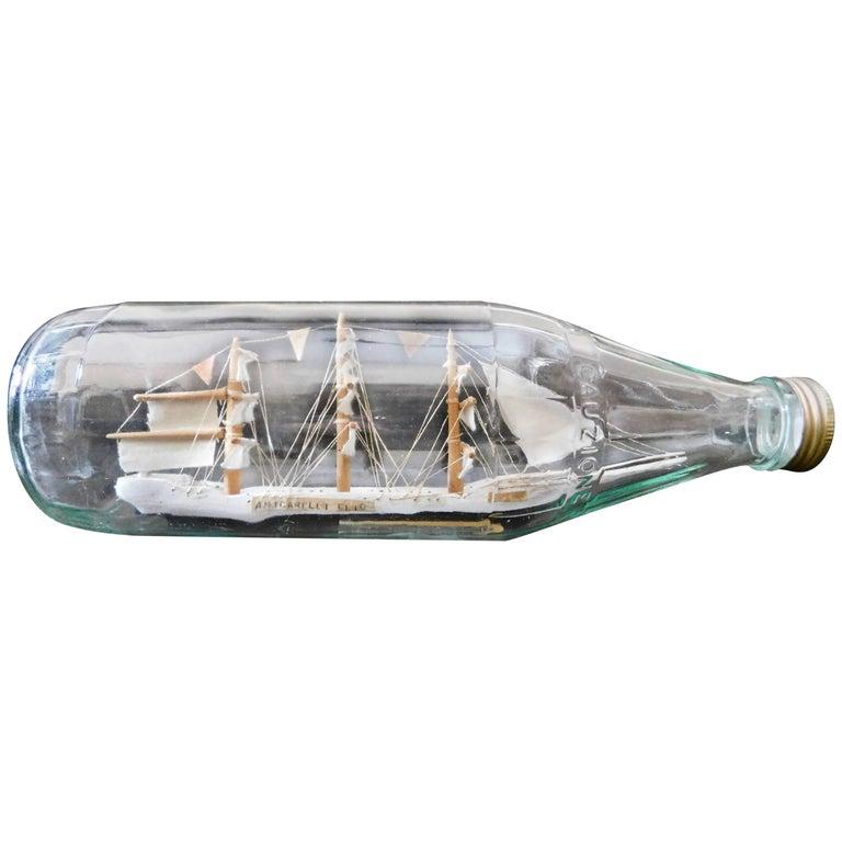Vintage Italian Nautical Diorama Ship in a Bottle