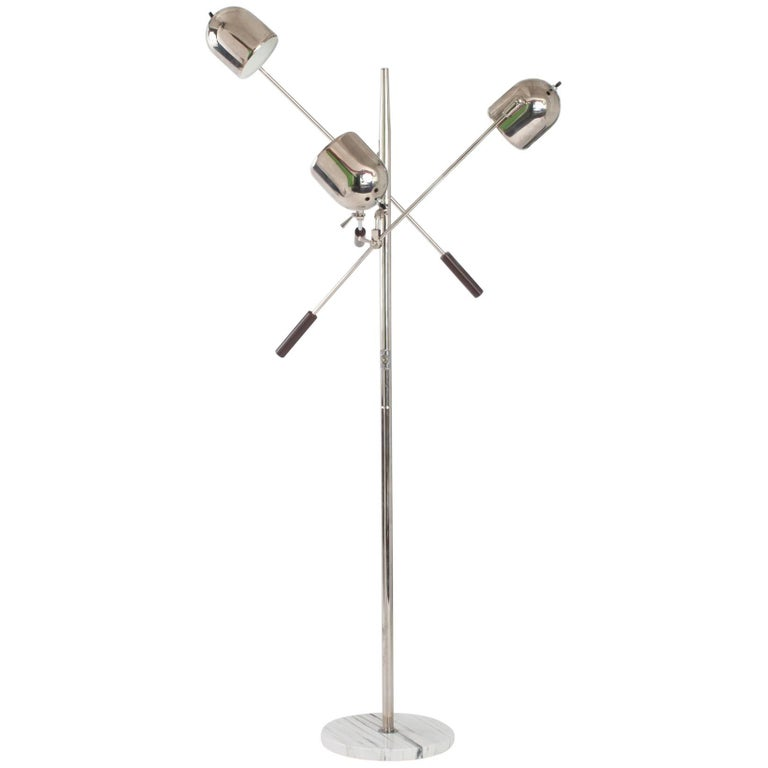 Arredoluce Style Chrome and Marble Triennale Floor Lamp, Italy 1960's
