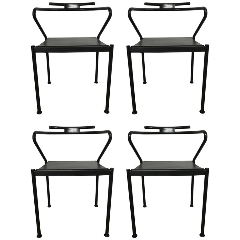Set of Four Post Modern Black Leather Dining Chairs by Cidue