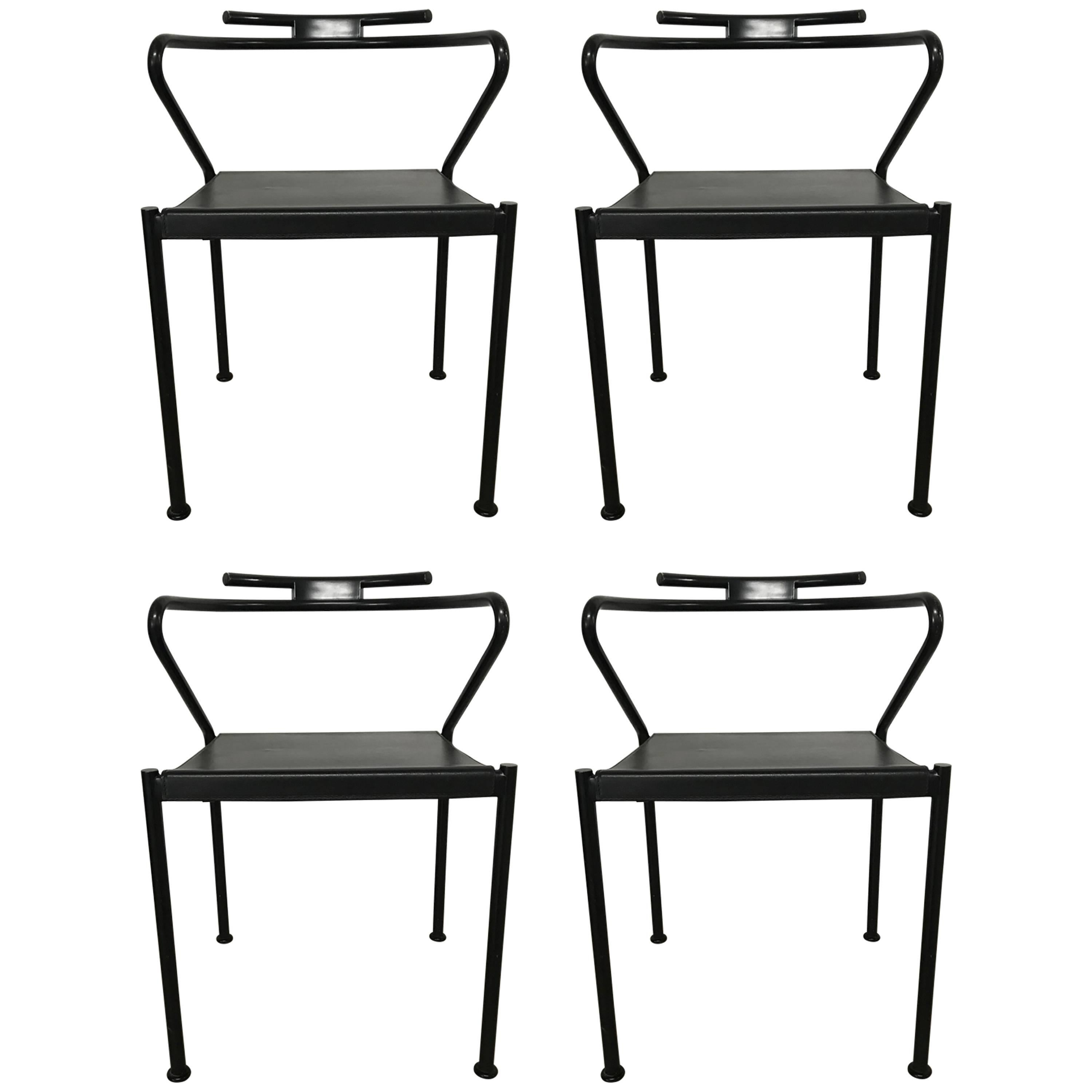 Set of Four Post Modern Black Leather Dining Chairs by Cidue  sc 1 st  1stDibs & Midcentury Post Modern Italian Style Dining Chairs After Sottsass ...