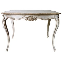 19th Century Louis XV Style Painted Center Table with Drawer
