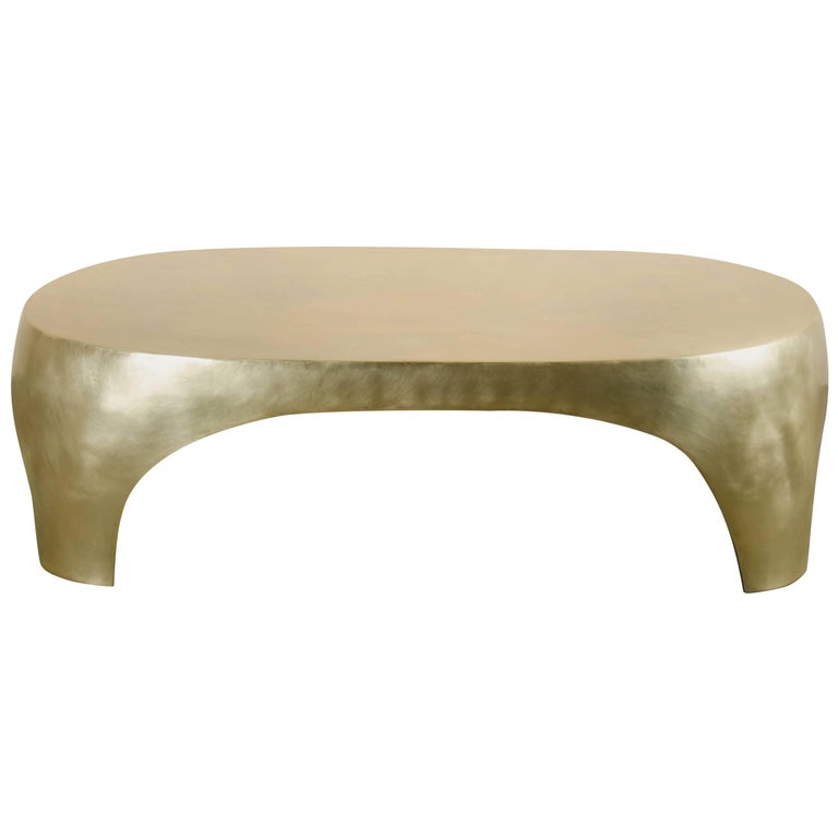Oval Curve Cocktail Table, Brass by Robert Kuo, Hand Repoussé, Limited Edition