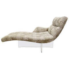 "Vladimir Kagan ""Erica"" Chaise Lounge on Lucite Base In Greige Fabric"