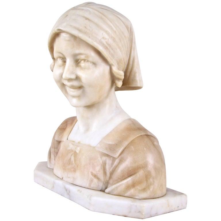 Art Nouveau Bust Alabaster, Italy circa 1900