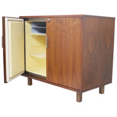 Vintage 1960's Mid-Century Modern Walnut Mini Bar Fridge Liquor Cabinet