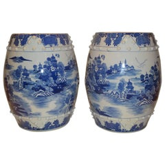 Pair of Chinese Porcelain Garden Seats / End Tables Blue And White Floral Motif