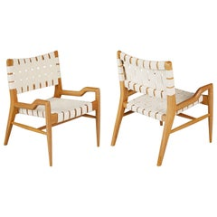 John Keal for Brown Saltman Sculptural Solid Oakwood Lounge Chairs, circa 1954