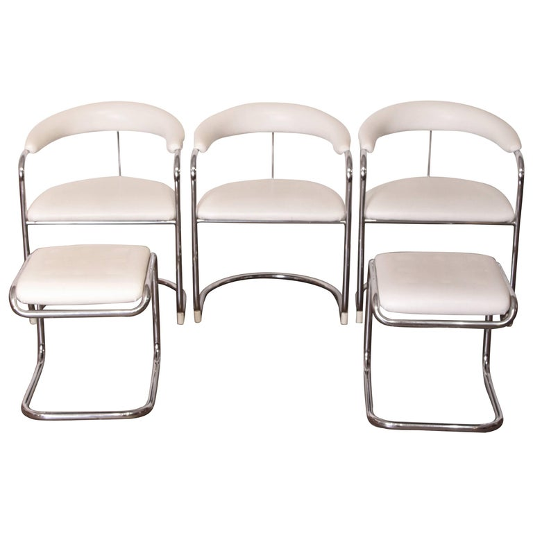 Thonet Midcentury Side Chairs and Ottomans, Five Piece Set, Lorenz Design