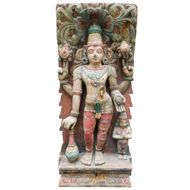 Colorful Hindu Indian Carved Wood Vishnu Temple Statue Retaining Original Paint