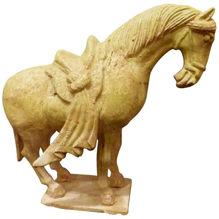Rare Straw Glazed Sui Dynasty Pottery Statue of Standing Horse, Oxford TL Tested For Sale