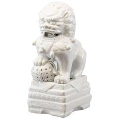 Midcentury Large White Porcelain Foo Dog