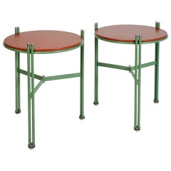 Bauhaus Enameled and Leather Side Tables in Green and Red, Germany 1950's