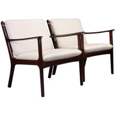1950s Ole Wanscher Set of Two Lounge Chairs in Mahogany - choice of upholstery
