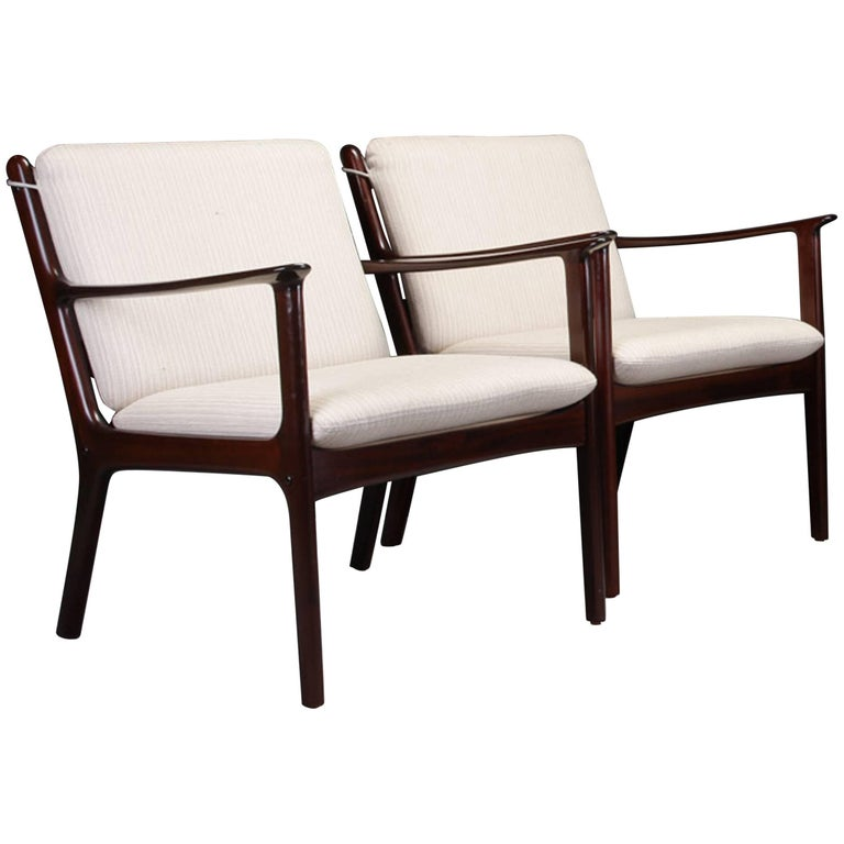 1950s Ole Wanscher Set of Two PJ112 Lounge Chairs in Mahogany