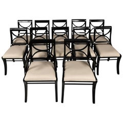 Set of 12 Black Regency Style Chairs