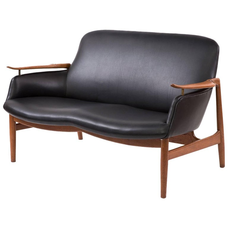 Finn Juhl Niels Vodder NV-53 Leather Teak Sofa