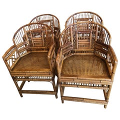 Set of Four Rattan Bamboo Brighton Arm Dining Chairs Chinese Chippendale