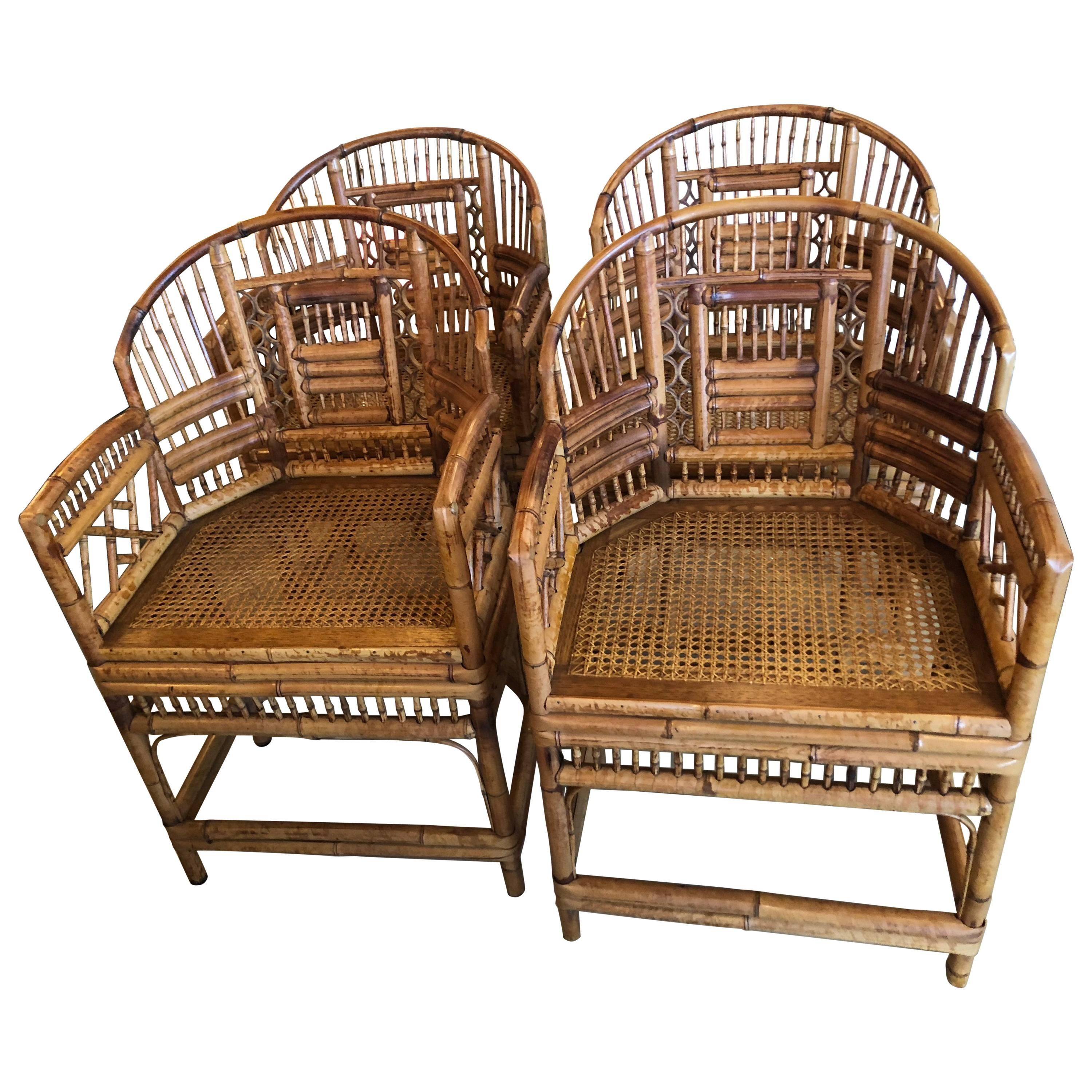 Set Of Four Rattan Bamboo Brighton Arm Dining Chairs Chinese Chippendale  For Sale