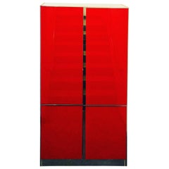 Mid Century / Post Modern Lighted Ello Red Glass, Chrome & Laminate Tall Cabinet