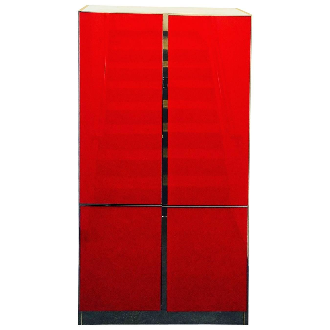 Mid Century / Post Modern Lighted Ello Red Glass, Chrome U0026 Laminate Tall  Cabinet For