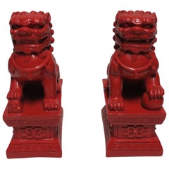 Pair of Red Foo Dogs or Lions Bookends or Decorative Objects