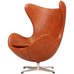 """Arne Jacobsen Leather """"Egg"""" Chair for Fritz Hansen"""