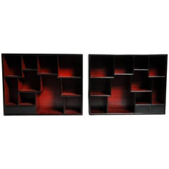 Pair of Lacquered Chinese Book Shelf Cabinets with One Drawer
