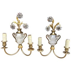 Maison Baguès, pair of brass and glass sconces, circa 1950/1960