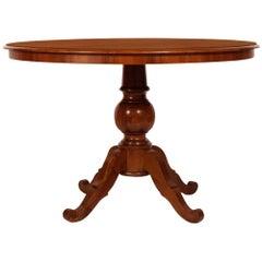 Era Art Deco Neoclassical Round Table in Solid Walnut, Veneered Walnut Top