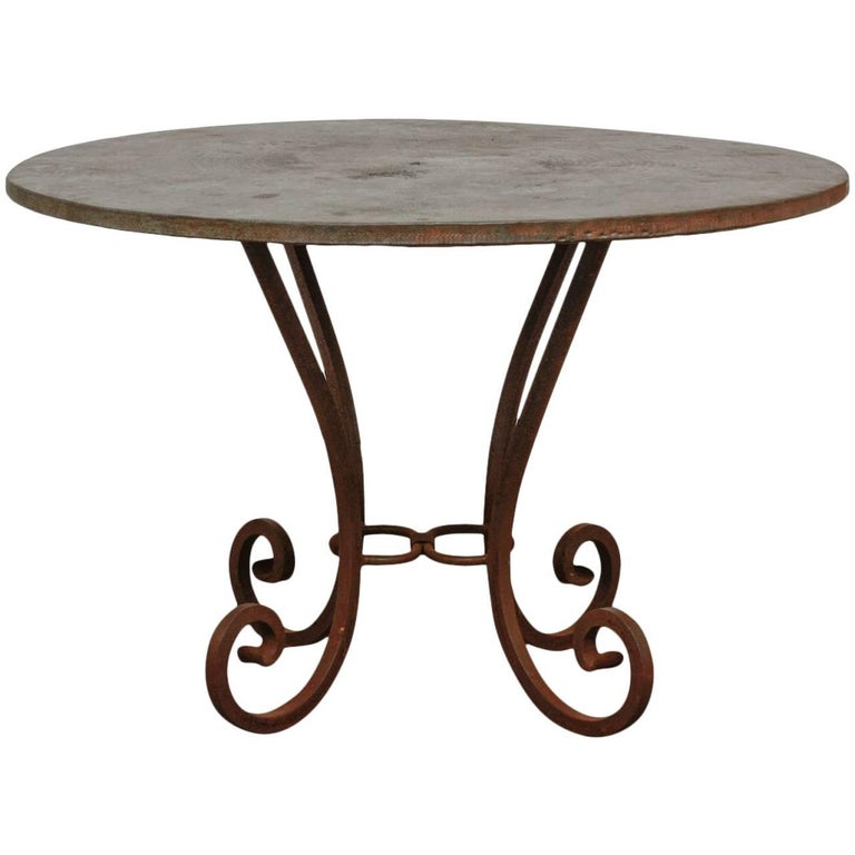 Wrought Iron And Hammered Copper Round Dining Table For Sale At Stdibs - Hammered copper round dining table