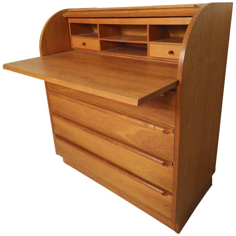 Danish Modern Roll Top Desk For Sale