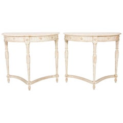 Pair of French Louis XV Style Marble Top Demilune Consoles