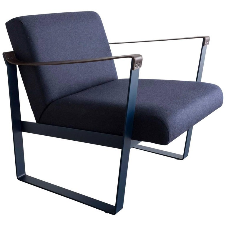 Strap Lounge Chair, Blue Powder Coated Steel, Leather, Navy Cotton Upholstery For Sale