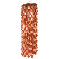 Cascading Orange and White Two-Tone Shell Light Fixture