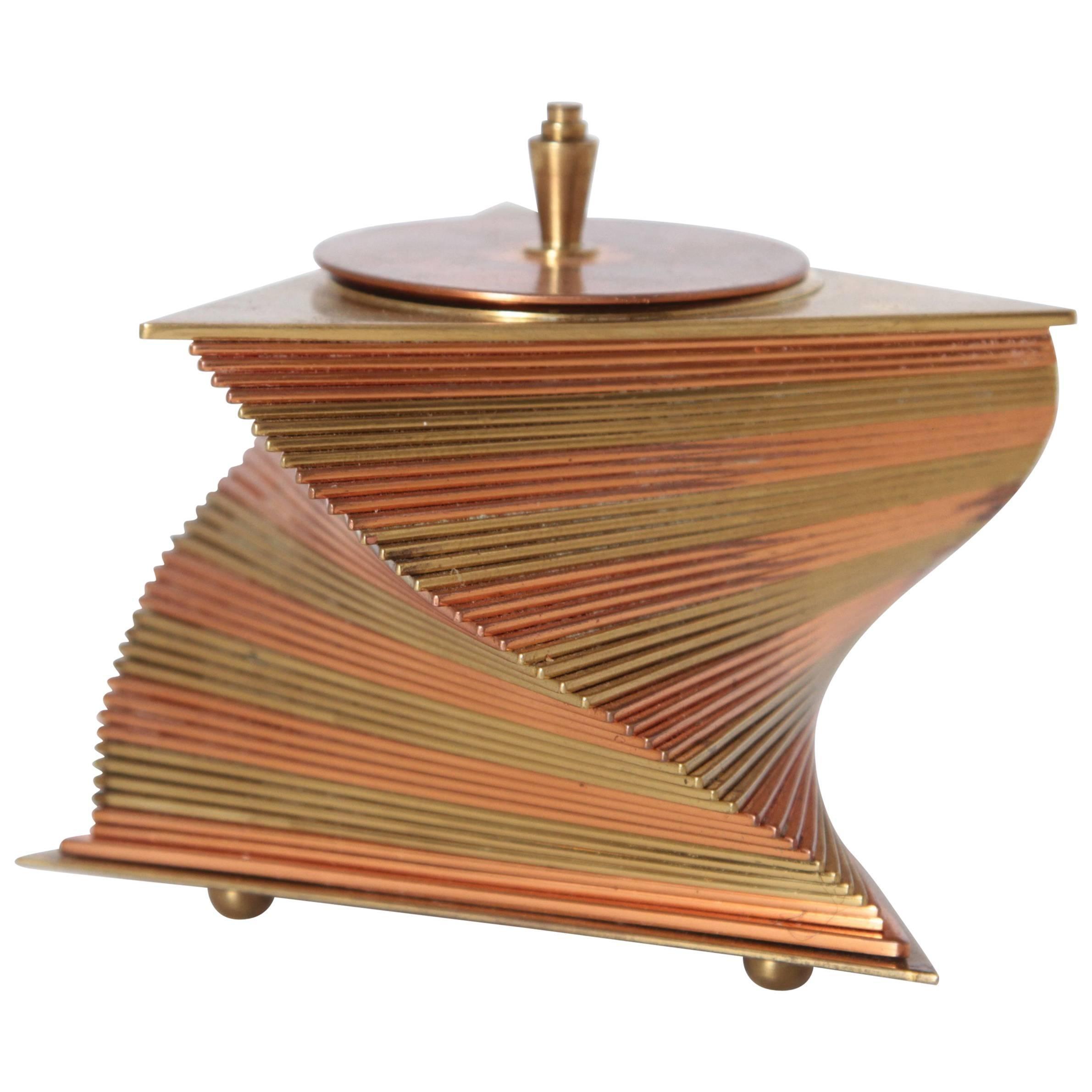 Machine Age Art Deco John Nicholas Otar Stacked Modernist Cigarette Box