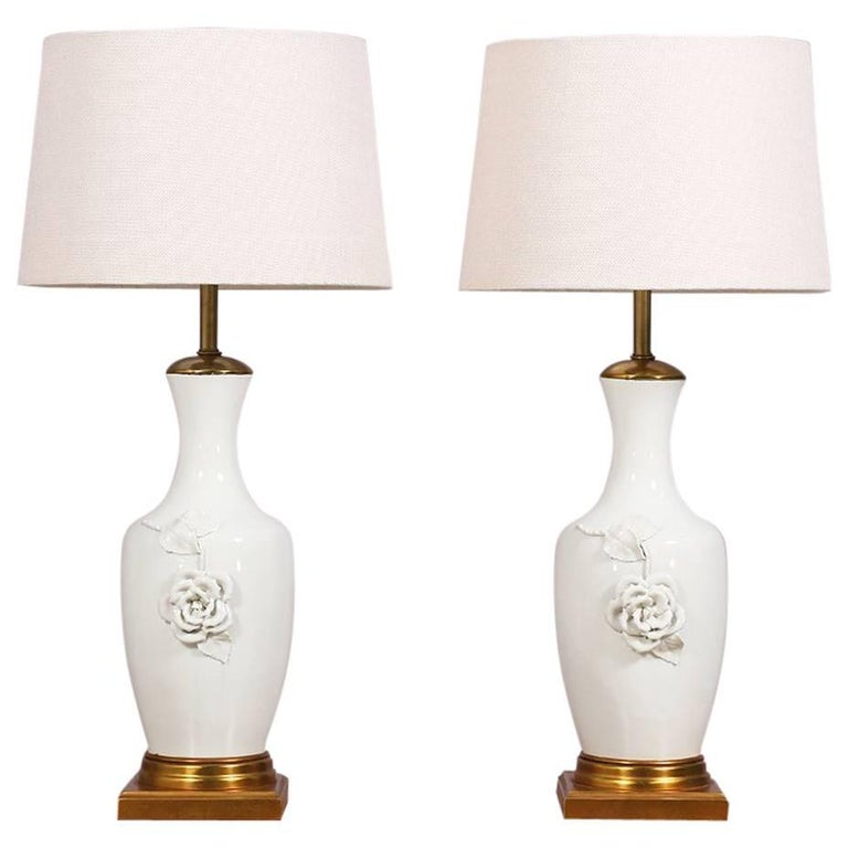 Italian Blanc de Chine Lamps By Marbro