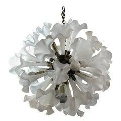 Murano Style Italian Sputnik Orb Round Brass & Glass Lily Flower Chandelier