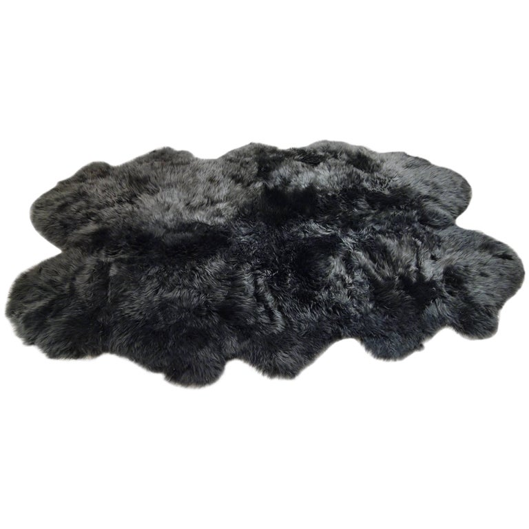 "New 6"" x 4' Charcoal Gray Plush Sheepskin Rug, Five Available For Sale"
