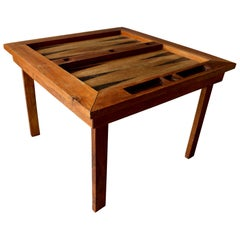 Folk Art Wood Backgammon Table