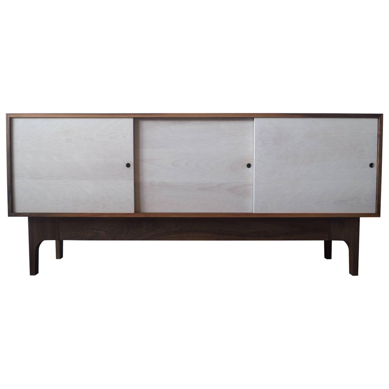 Walnut Sideboard with Bleached Beach Doors and Hand-Carved Base