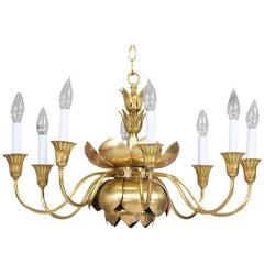 Brass Lotus Chandelier by Feldman