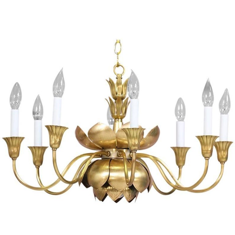 Brass Lotus Chandelier by Feldman