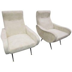 Pair of Cloud Lounge Chairs Marco Zanuso Style