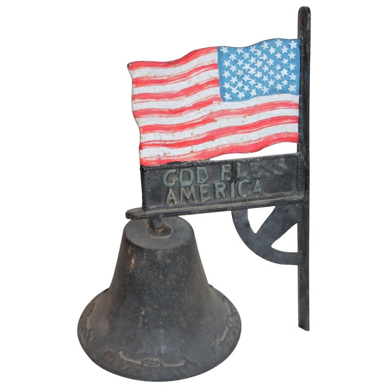 Patriotic Original Painted American Flag with Bell Wall Mount