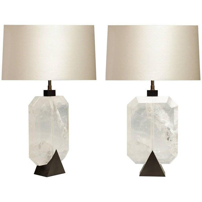 Pair of Diamond Form Rock Crystal Quartz Lamps